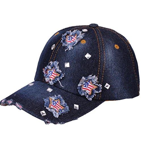 CRUOXIBB USA Baseball Cap Star Flag Denim Jean Cowboy Hat Rhinestone Snapback Men Women (Blue 5#) ()