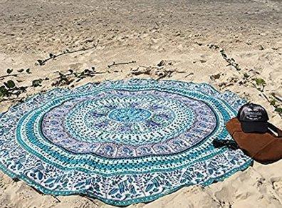 Toyonee Redondo Playa Mat Patr/ón Totem Redondo Yoga Estera Gasa Verde Azul T/ótem 150 cm