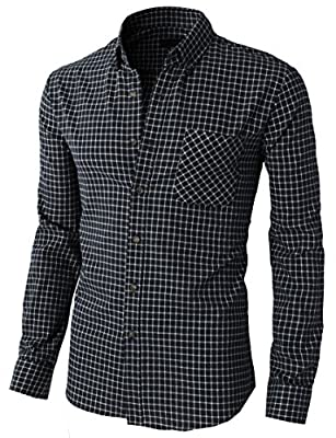 H2H Mens Casual Slim Fit Button Down Check Patterned Shirts Various Styles