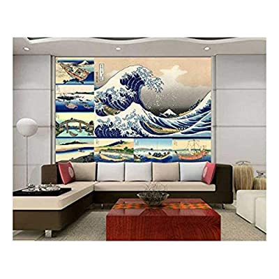 Charming Technique, Peel and Stick Wallpapaer Japanese Style Paintings Collage by Hokusai Removable Large Wall Mural Creative Wall Decal, That You Will Love