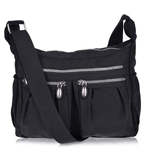 Vbiger Shoulder Bags Messenger Handbags Multi Pocket Waterproof Crossbody Bags (Black) Cross Body Messenger Handbag