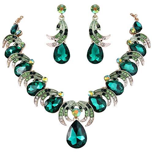 BriLove Women's Wedding Bridal Crystal Leaf Vine Teardrop Statement Necklace Dangle Earrings Set Emerald Color (Costume Jewelry Emeralds)