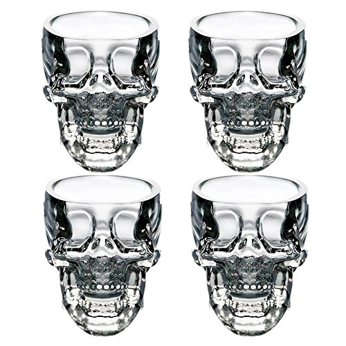 (LanHong Crystal Skull Head Cup Pirate Shot Glass for Wine Vodka Whiskey Cocktail,Party Bar Cup Set of)