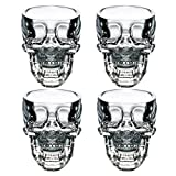 LanHong Crystal Skull Head Cup Pirate Shot Glass for Wine Vodka Whiskey Cocktail,Party Bar Cup Set of 4