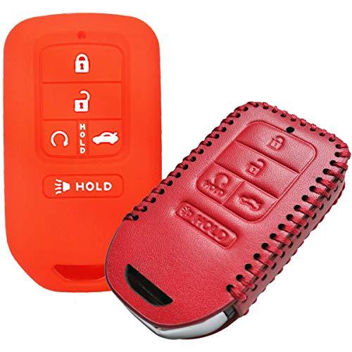 Coolbestda 2Pcs Smart Keyless Entry Cover Remote Case Protector Skin Jacket Wallet Bag for 2019 2018 2017 2016 2015 Honda Accord Civic CR-V CRV Pilot EX-L Touring Premium A2C81642600