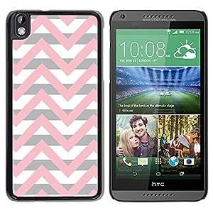Caucho caso de Shell duro de la cubierta de accesorios de protección BY RAYDREAMMM - HTC DESIRE 816 - Pink Beige White Lines Pattern