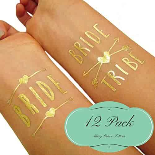 Mary Grace Bachelorette Tattoos, Party Favors, Bridal Party Tattoos (10 'Bride Tribe' Plus 2 'Bride' Temporary Tattoos) Absolutely Adorable Bridal Party Supplies, Golden, Pack of 12