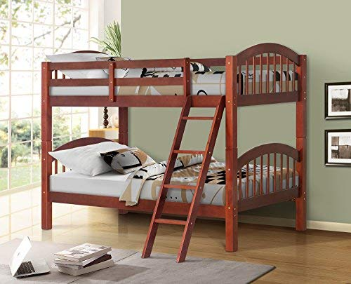 Harper&Bright Designs Twin-Over-Twin Bunk Beds Solid Hardwood Twin Bunk Bed for Kids with Ladder and Safety Rail (Walnut.)