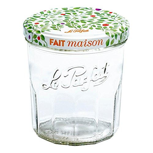 Le Parfait Jam Jar - 324ml Faceted French Glass Jelly Jar w/Twist Lid, Berry, 11oz (Pack of 6)