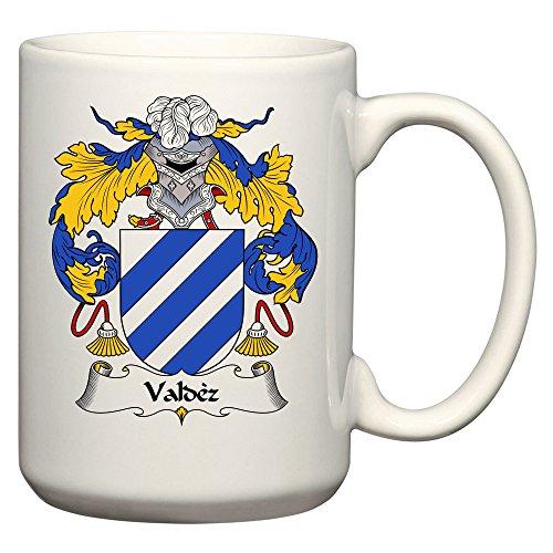 (Valdez Coat of Arms/Valdez Family Crest 15 Oz Ceramic Coffee/Cocoa Mug by Carpe Diem Designs, Made in the U.S.A.)