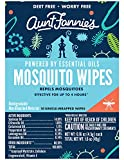 Aunt Fannie's DEET-free Mosquito Wipes for skin (10 wipes count box); indoor/outdoor protection for up to 4 hours; safe for kids over 6 months