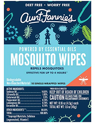 Aunt Fannie's Deet-free Mosquito Wipes for Skin, 2.4 Ounce