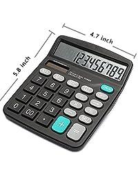 Calculadora de 12 dígitos, batería solar, calculadora básica, batería solar dual, para oficina, con pantalla LCD grande y botones grandes (batería Incluida)