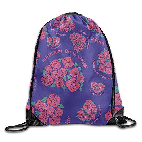 Mum Is My Valentine Cartoon Print Drawstring Backpack Light-Weight Gym Bag Backpack Bag Mum Drawstring
