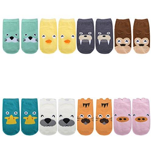TARTINY Kids Socks Animal Fun Nonskid Cotton Cozy Unisex Socks Ages 0-4 Years Animal Print Socks,8 Pairs per Pack (M 2-4 Years)