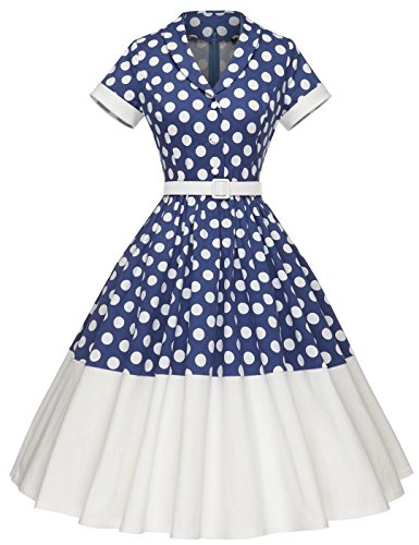 GownTown Women Splicing Swing Dress Party Picnic Cocktail Dress,Blue Dot&ivory,Large -