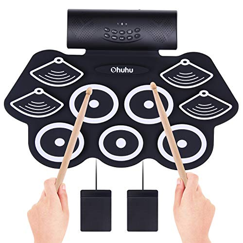 Ohuhu 9 Pads Roll Up Drum Kit with Headphone Jack, Built-In Speaker, Drum Pedals and Drum Sticks. Electronic Drum Set for Kids and Adults
