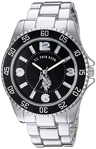 U.S. Polo Assn. Men's Silver-Toned Watch with a Black Dial, Automatic Quartz Metal/Alloy, Fold-Over-Clasp Watch - USC80515 (Silver Quartz Metal)