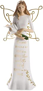 "Pavilion Gift Company Because Someone We Love, Little Bit of Heaven in Our Home-7.5 Inch Gold & White in Memory Figurine 7.5"" Angel Holding Calla Lilies, Tall, Gold"