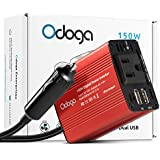 Odoga 150W Car Power Inverter DC 12V to 110V AC Car Adapter with Dual USB Charging Ports
