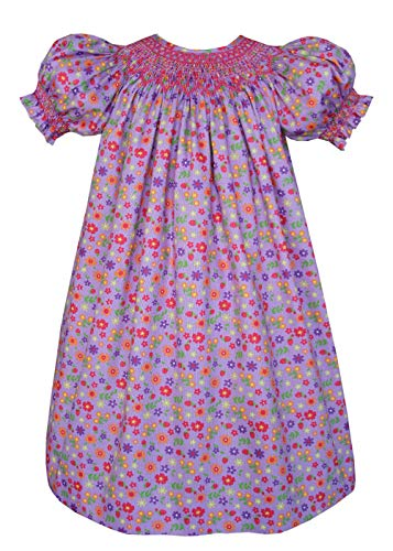 Girls Hand Smocked Bishop Dress in Floral Lavender Cotton