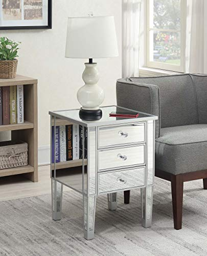Convenience Concepts 413245SS Gold Coast 3-Drawer End Table, Mirror/Silver]()
