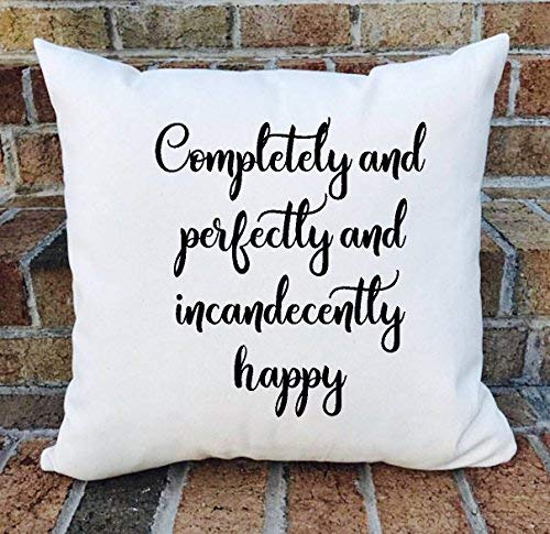 alerie Sassoon Pride Prejudice Pillow Cover, Jane Austen, Completely Perfectly incandecently Happy Pillow Cover, 16x16 inch, Pillowcase Gift Pillow Cover.