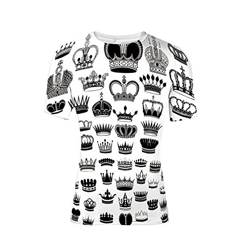 (T-Shirt Short Sleeves,Monarchy Imperial Ruler Icons Antique Ancient,Mens Cool 3D Print)