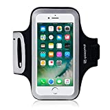 iPhone 8 / iPhone 7 Case, Shocksock iPhone 8 Armband for Sports Gym Bike Cycle Jogging Running Workouts - Reflective Design - Dual Arm-Size Slots - Key Pocket - Black
