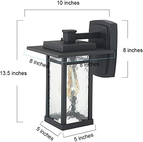 LOG BARN Large Exterior Light Fixtures Outdoor Wall Lantern Sconce with Water Glass for Porch, Doorway, Garage and Courtyard, Black