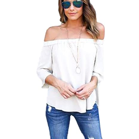 Amazon.com : HOSOME Women Top Fashion Women Off Shoulder Tops Long Sleeve Shirt Casual Blouse Loose T-shirt : Grocery & Gourmet Food