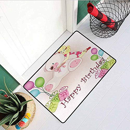 (GloriaJohnson Kids Birthday Commercial Grade Entrance mat Baby Girl Birthday with Teddy Bears Toys Balloons Surprise Boxes Dolls Image for entrances garages patios W19.7 x L31.5 Inch Light Pink)