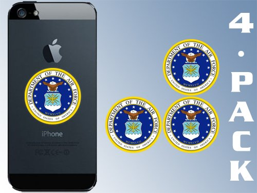 American Vinyl 4-Pack Round AIR Force Logo Cell Phone Stickers (Insignia Seal Laptop case USAF)