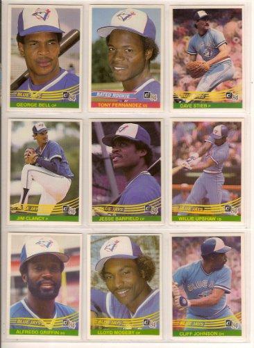 Toronto Blue Jays 1984 Donruss Baseball Team Set Tony Fernandez Rookie George Bell Dave Stieb Jim Clancy Jesse Barfield Willie Upshaw Alfredo