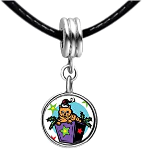 Chicforest Silver Plated Cute Xmas Cat In Purple Gift Box Photo Sapphire Crystal September Birthstone Flower dangle Charm Beads Fits Pandora Charm