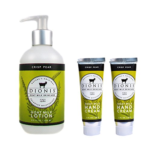 Dionis Goat Milk Body Lotion and Hand Cream 3 Piece Gift Set – Crisp Pear