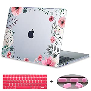 "MacBook Pro 13 Case 2017 & 2016 Release A1708,Mektron Floral Print Hard Case Shell with Keyboard Cover For Macbook New Pro 13"" A1708 without Touch bar (Hand-painted Flowers)"
