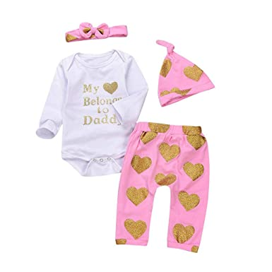 SRYSHKR 4PCS Toddler Baby Letter Print Romper+Heart Print Pants+Hat+Headband Set
