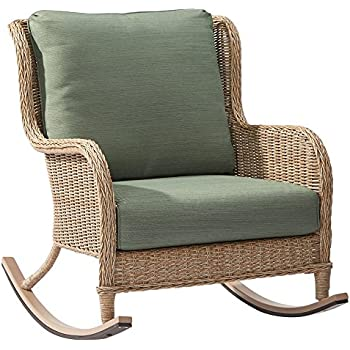 This Item Hampton Bay Lemon Grove Wicker Outdoor Rocking Chair With Surplus  Cushions