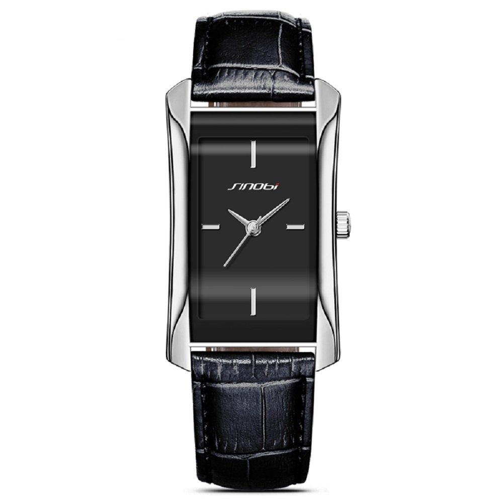 SINOBI Leather Wristwatch Business Casual Lady Designer Simple Rectangular Women Watches S8179L (silver case&black band)