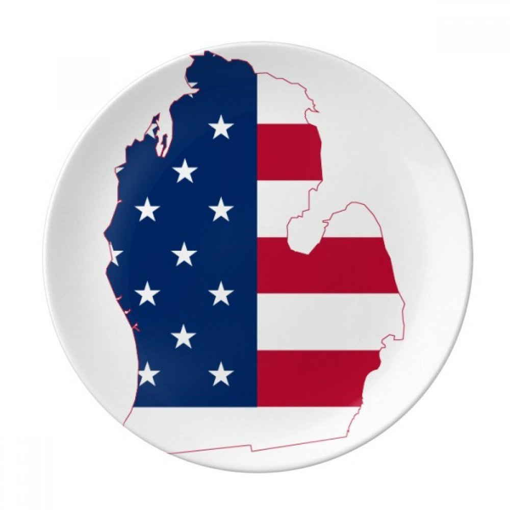 Michigan America USA Map Stars tripes Flag Dessert Plate Decorative Porcelain 8 inch Dinner Home