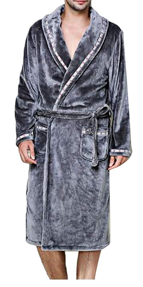 Cromoncent Mens Casual Thicken Flannel Shawl Collar Belt Pajama Sleep Bathrobe
