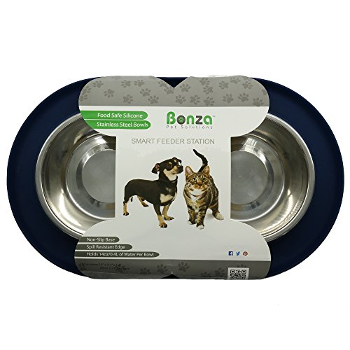 Bonza-Double-Dog-Bowl-Pet-Feeding-Station-Stainless-Steel-Water-and-Food-Bowls-with-Spill-and-Skid-Resistant-Silicone-Base-Premium-Quality-Feeder-Solution-for-Small-Dogs-and-Cats
