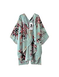 TOPUNDER Fashion Chiffon Shawl Print Kimono Cardigan Top Cover Up Blouse BeachwearWomen