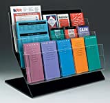 Displays2go 3 Tier Counter Literature Rack with 15 Adjustable Pockets - Clear Acrylic Front Brochure Stand (SSF5CT)