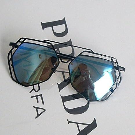 ae14ae30a7 Sunyan Nuevo estilo ahuecado metal personalidad Gafas Anteojos Chao,marco  negro Blue film: Amazon.es: Deportes y aire libre