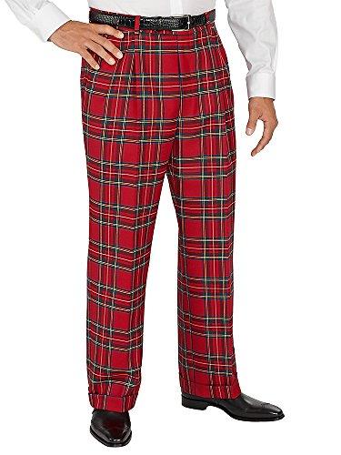 Paul Fredrick Men's 100% Wool Tartan Plaid Pleated Pants Red 36 (Tartan Pants compare prices)