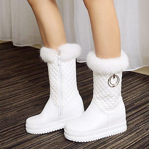 Carolbar Womens Faux Fur Zip Warm Platform Hidden Heel Snow Snowboots Wit