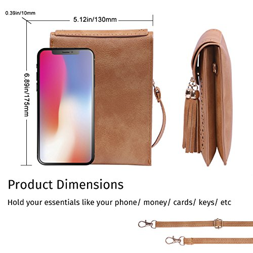 Vintage Purse Phone Bags Tassel Small Leather Travel Wallet Pouch Brown Crossbody HDE Bvtxq8v