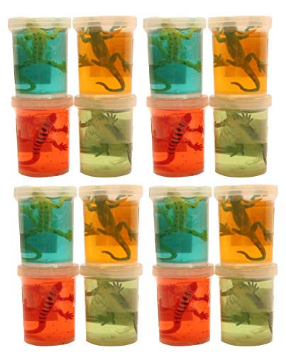 Bulk - 12 Lizard Slimes - Fun Slime with Reptile Figurine - Putty - Goo - Party Favors and Goodie Bags ()